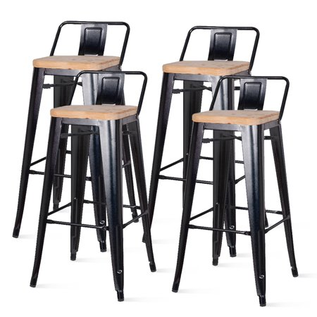 Metropolis Low Back Metal Bar Stool With Wood Seat Set Of
