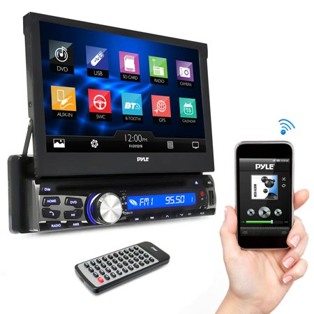 PYLE PLDT87BT - Single DIN In Dash Car Stereo Head Unit w/ 7inch Flip Out Touch Screen Monitor - Audio Video Receiver System with Microphone, Radio,