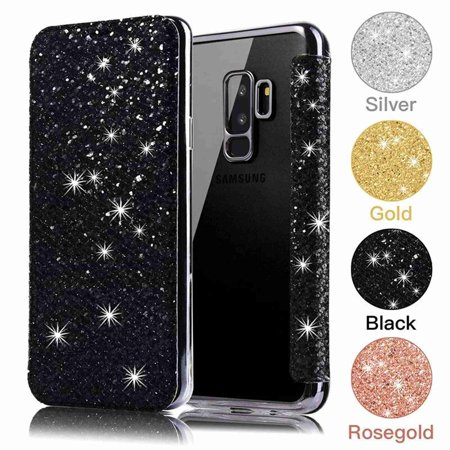 Dteck Luxury Ultra Slim Bling Leather Wallet Card Soft TPU Back Stand Case Cover,For Samsung Galaxy S9 Plus,black Plastic Back Stand Case Cover