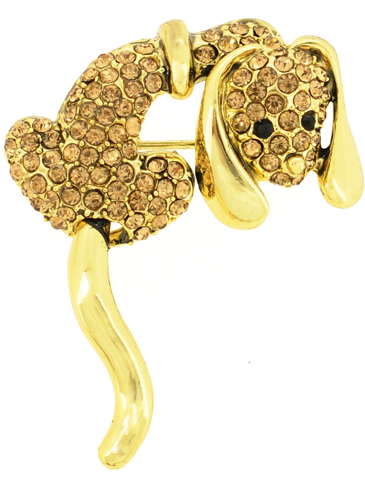 Topaz Crystal Dog Pin Brooch by