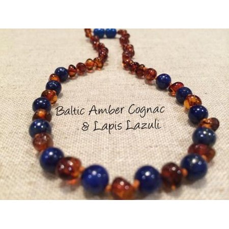 ADHD Teething Inflammation Polished Cognac Lapis Lazuli Baltic Amber Necklace for Baby, Infant, Toddler, Big
