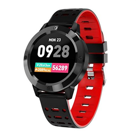 Waterproof IP67 Smart Watch -Round Colorful UI Watch with Heart Rate Blood Pressure Oxygen Sport Smartband for Android 4.4 & ISO9.0 and Above (Red)