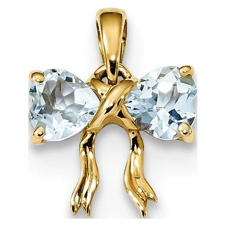 Aquamarine Jewelry - Leslies Fine Jewelry Designer 14k Yellow Gold Polished Aquamarine Bow (11.2x14.2mm) Pendant Gift