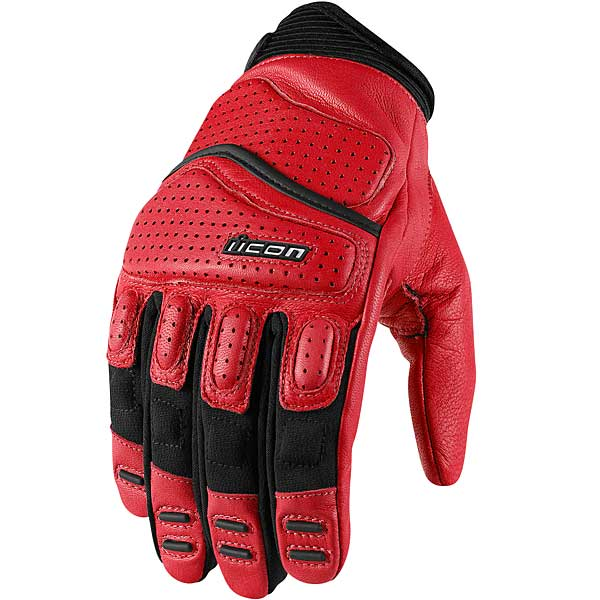 Icon Superduty 2 Leather Gloves Red