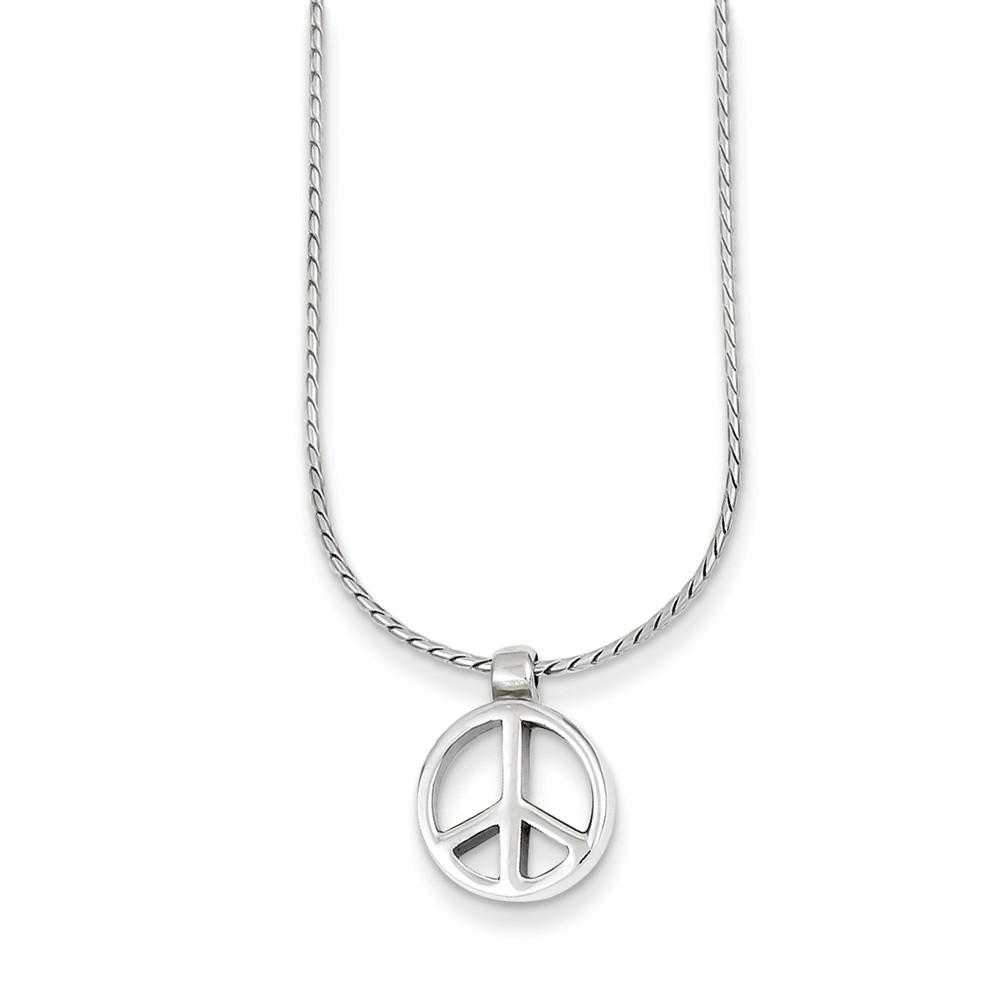 Sterling Silver Peace Sign Charm on 16in Chain Necklace