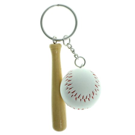 Sports Themed Silver-Tone Split-Ring-Keychain w/Baseball & Bat Charms (Bat Italian Charm)