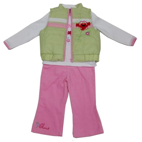 Sesame Street Baby Girls White Lime Elmo Applique Vest Shirt 3 Pc Pant Set 12-24M