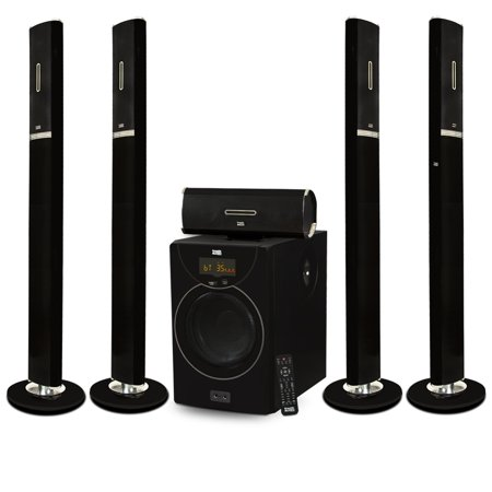 - Acoustic Audio AAT2002 Tower 5.1 Home Theater Bluetooth Speaker System with 8