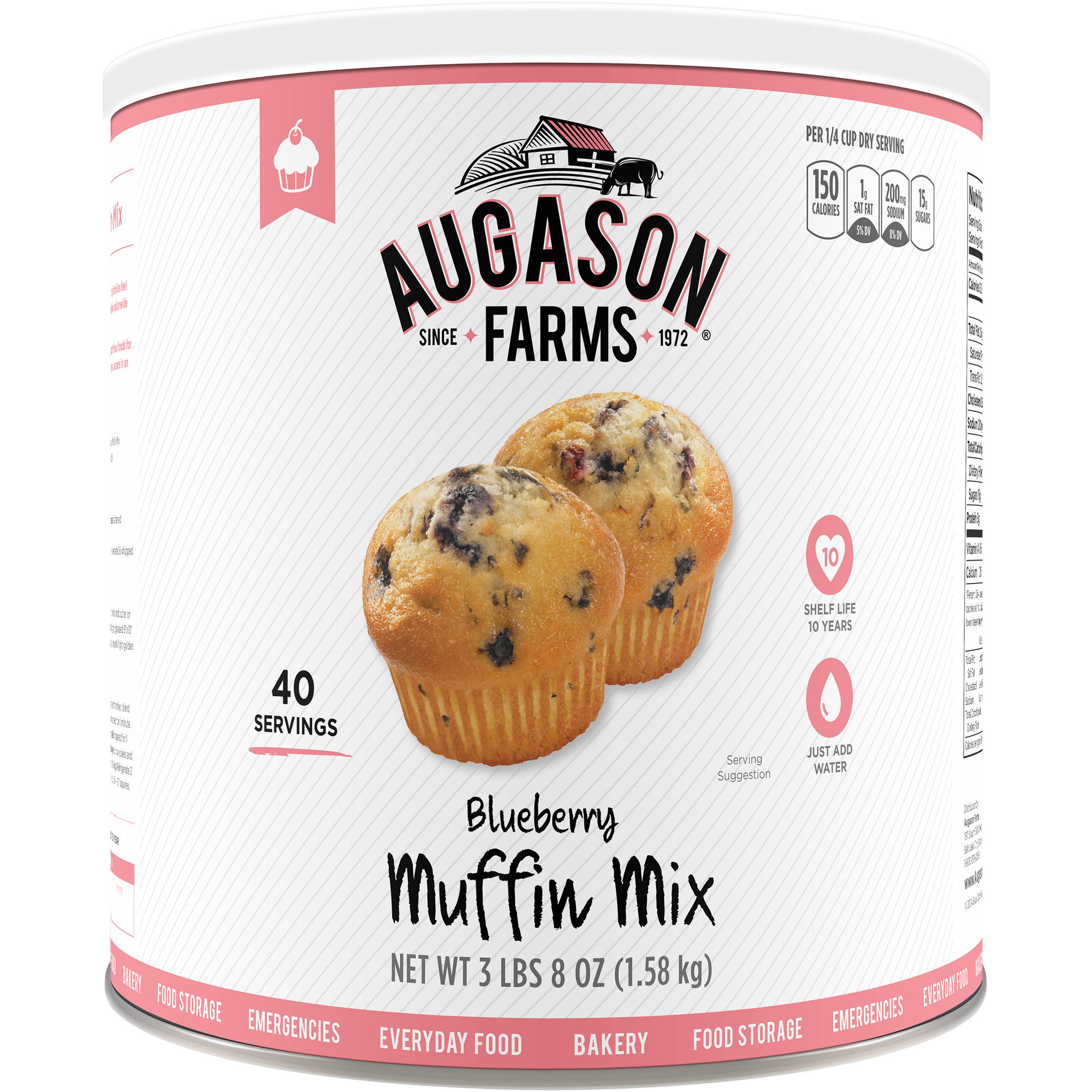 Augason Farms Emergency Food Blueberry Muffin Mix, 56 oz