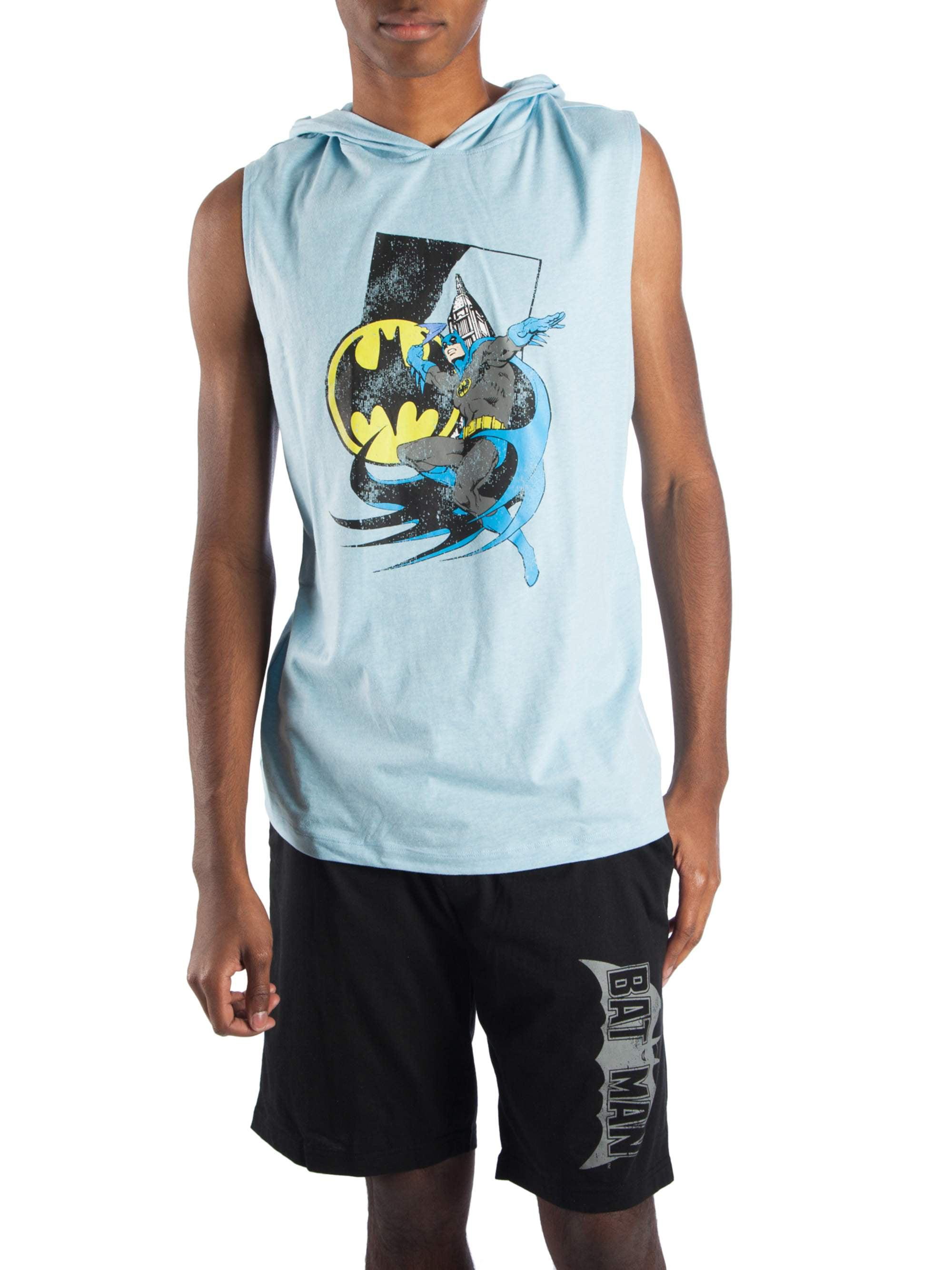 Men's 2 Piece Classic Batman Muscle Tee Hoodie and Sleep Short Lounge Pajama Combo by Generic