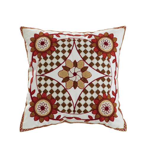 Elight Home Saffron Embroidered Cotton Throw Pillow by Supplier Generic