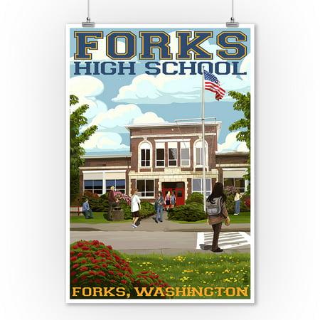 Fork High School, Washington - Lantern Press Poster (9x12 Art Print, Wall Decor Travel Poster)