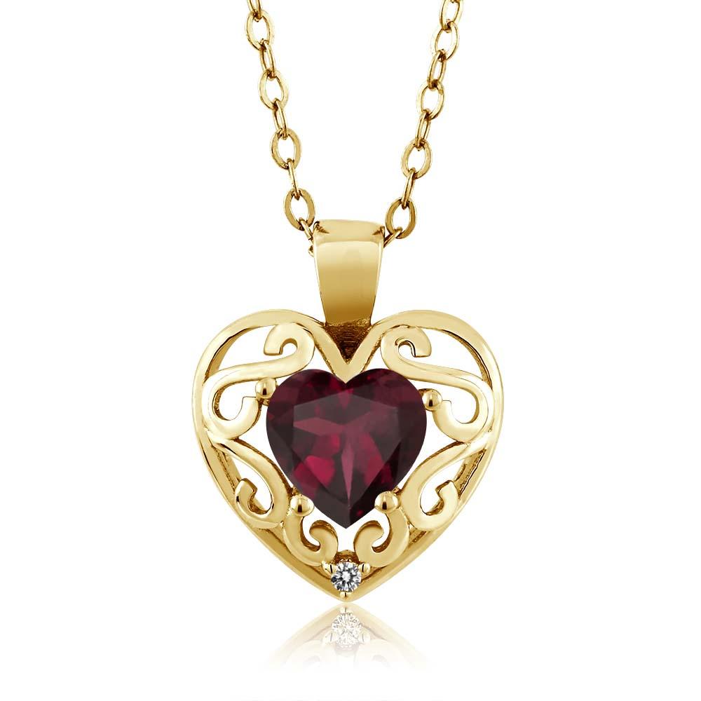 0.73 Ct Heart Shape Red Rhodolite Garnet Diamond Gold Plated Silver Pendant