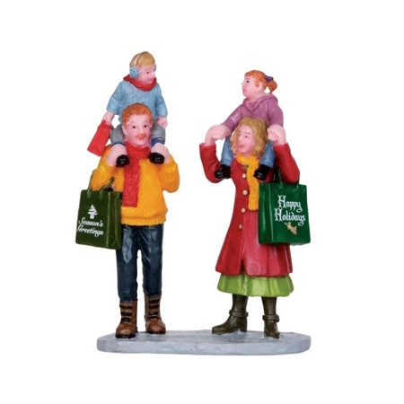 Family Christmas Shopping Figurine