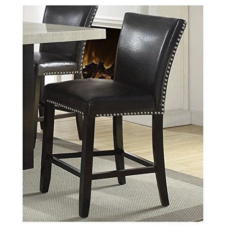 Set Of 2 Black Faux Leather Counter, 24 Inch Height Chairs