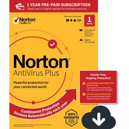 NORTON ANTIVIRUS PLUS, 1-Year Subscription, 1 DEVICE, PC, MAC [Digital (Best Antivirus App For Mac)