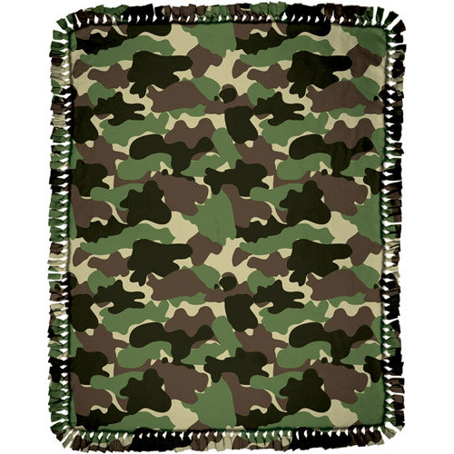 Creative Cuts Microfiber No Sew Throw Fabric Kit, Camouflage