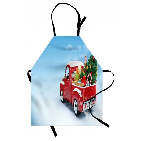 Christmas Apron Red Classical Pickup Truck with Tree Gifts and Ornaments Snowy Winter Day Image, Unisex Kitchen Bib Apron with Adjustable Neck for Cooking Baking Gardening, Blue Red, by Ambesonne (Winter Bib)