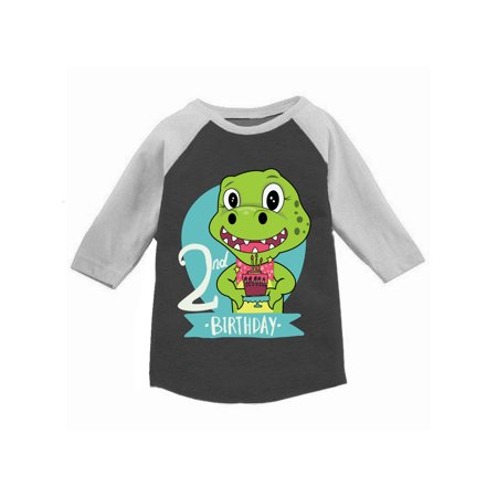 Awkward Styles Dinosaur Birthday Toddler Raglan Jersey Shirt For 2 Year Old 2nd Gifts Boy Baseball Girl T