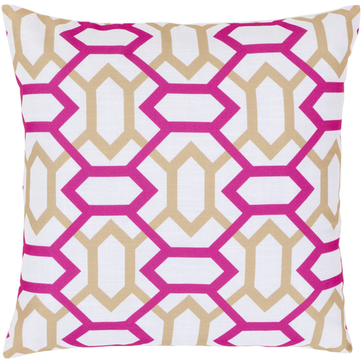 "18"" Hot Pink, Beige and White Geometric Gems Decorative Throw Pillow - Down Filler"