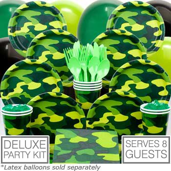 - Army Party Deluxe kit  Serves 8 Guests - Party Supplies