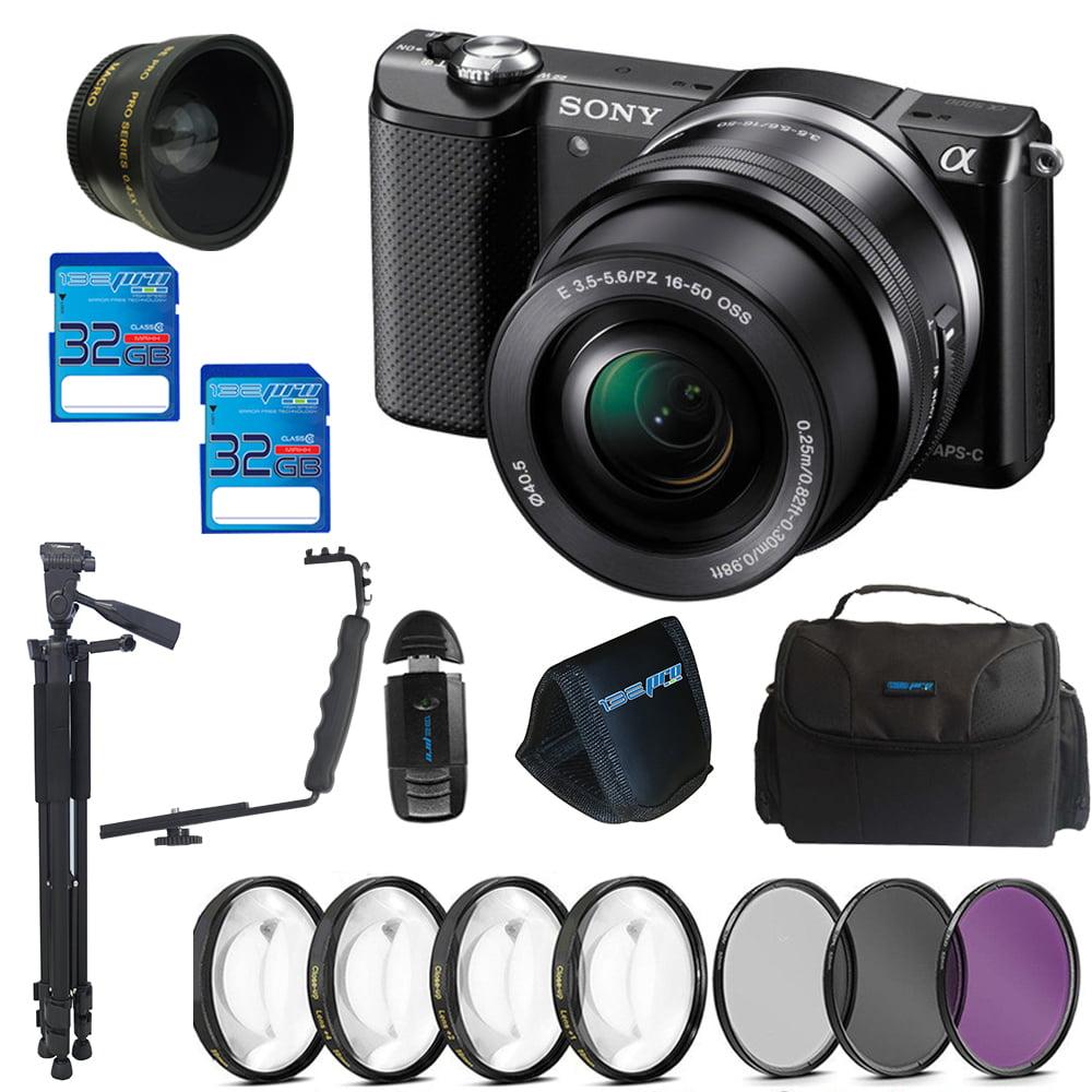 Sony Alpha a5000 Mirrorless Digital Camera with 16-50mm Lens (Black) + Pixi Advanced Bundle