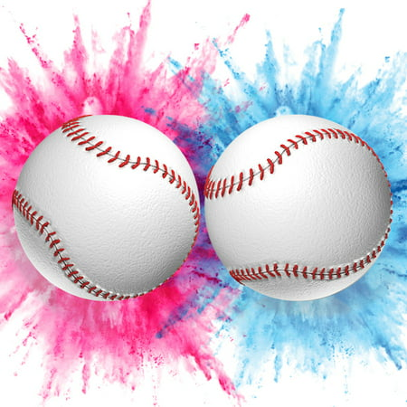 Pink And Blue Baby Shower Decorations (Gender Reveal Baseballs (1 Blue, 1 Pink) Packed with Exploding Powder Baby Shower Party Smoke)