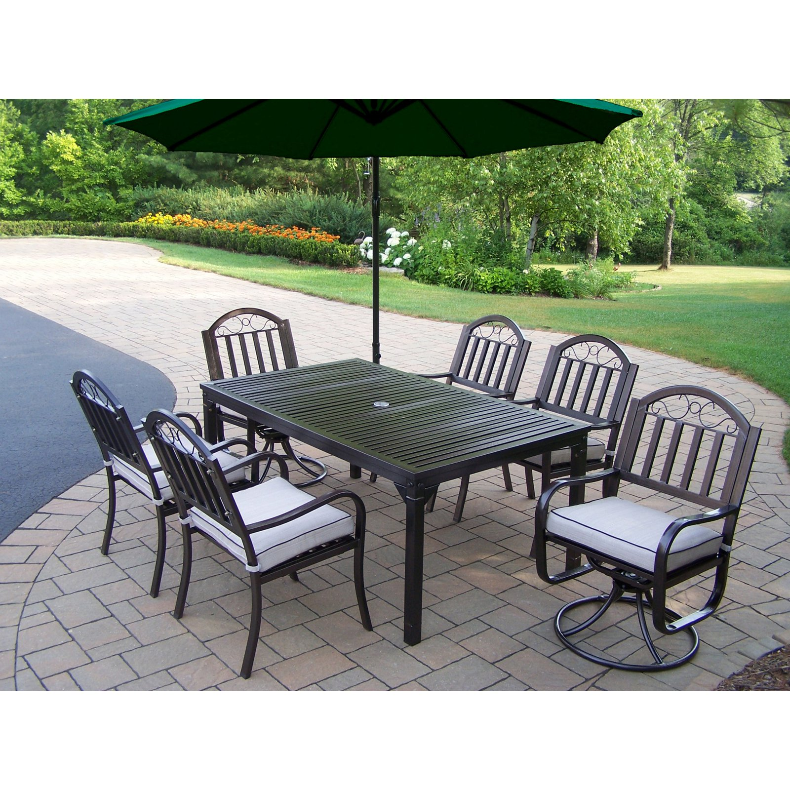 Oakland Rochester 67 x 40 in. Patio Dining Set with 2 Swi...