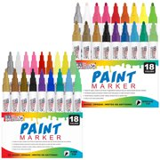 U.S. Art Supply Set of 36 Oil Based Paint Pen Markers (18 Colors - Both Medium and Fine Point Tip Sets) - Permanent Ink