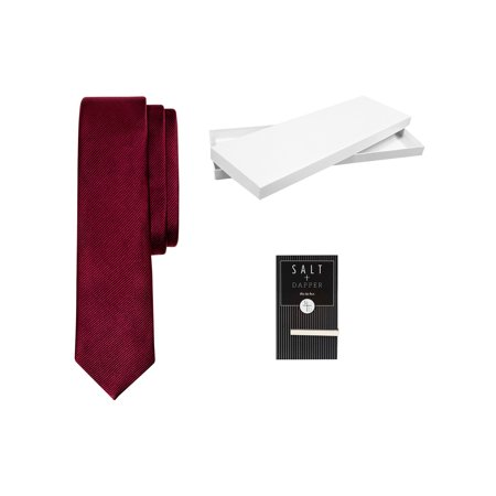 Salt & Dapper Men's Woven Silk Luxury Tie With Tie Bar & Giftbox Burgundy