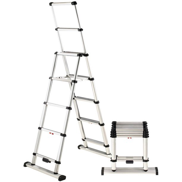 Telesteps 12es Osha Compliant 12 Ft Reach Professional Wide Step Telescoping A Frame Ladder Walmart Com Walmart Com