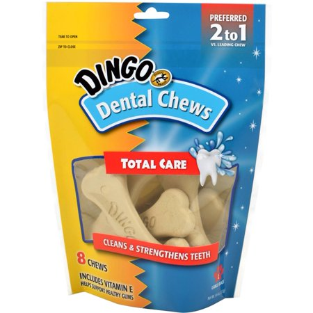 Dingo Denta Treats Teeth Whitening Chews Regular Dental Bones, 8ct