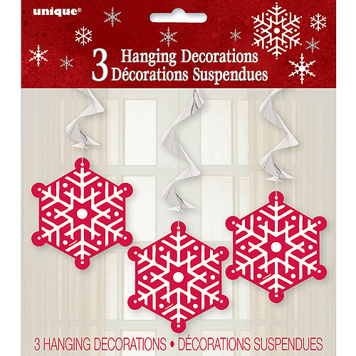 """26"""" Hanging Swirl Sparkle Christmas Tree Decorations, 3-Count"""