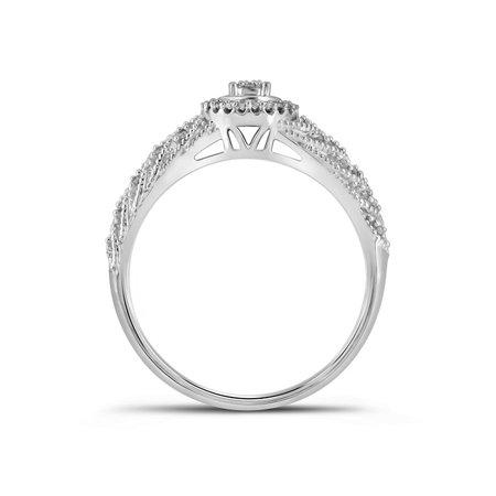10kt White Gold Womens Round Diamond Cluster Bridal Wedding Engagement Ring Band Set 1/4 Cttw - image 1 of 3