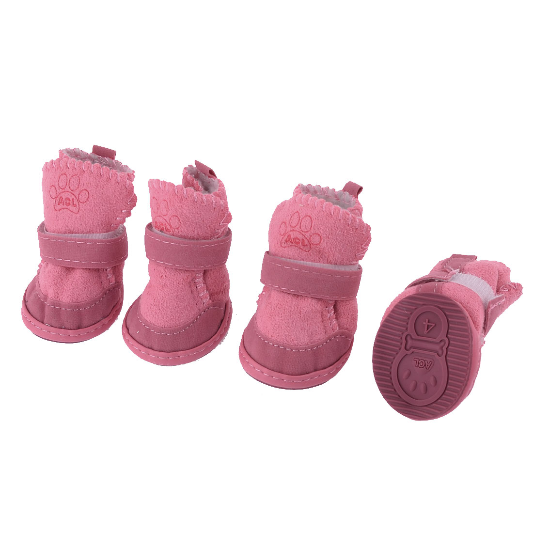 Unique Bargains 2 Pairs Pink Warm Plush Inner Paw Pattern Pet Dog Doggy Shoes Boots Booties XS