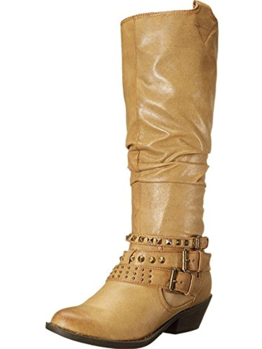 Report Womens Kathye Knee-High Round Toe Cowboy, Western Boots
