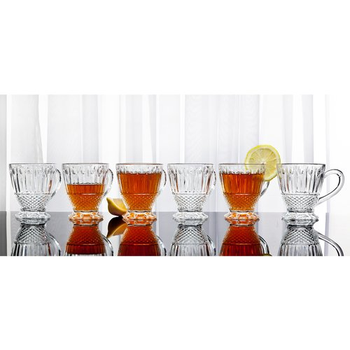Medea Clear Crystal Teacups Drinkware with Handles, Set of 6