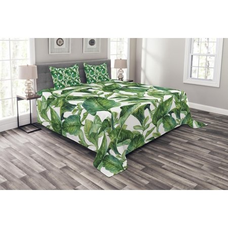 Leaf Bedspread Set, Romantic Holiday Island Hawaiian Banana Trees Watercolored Image, Decorative Quilted Coverlet Set with Pillow Shams Included, Dark Green and Forest Green, by Ambesonne