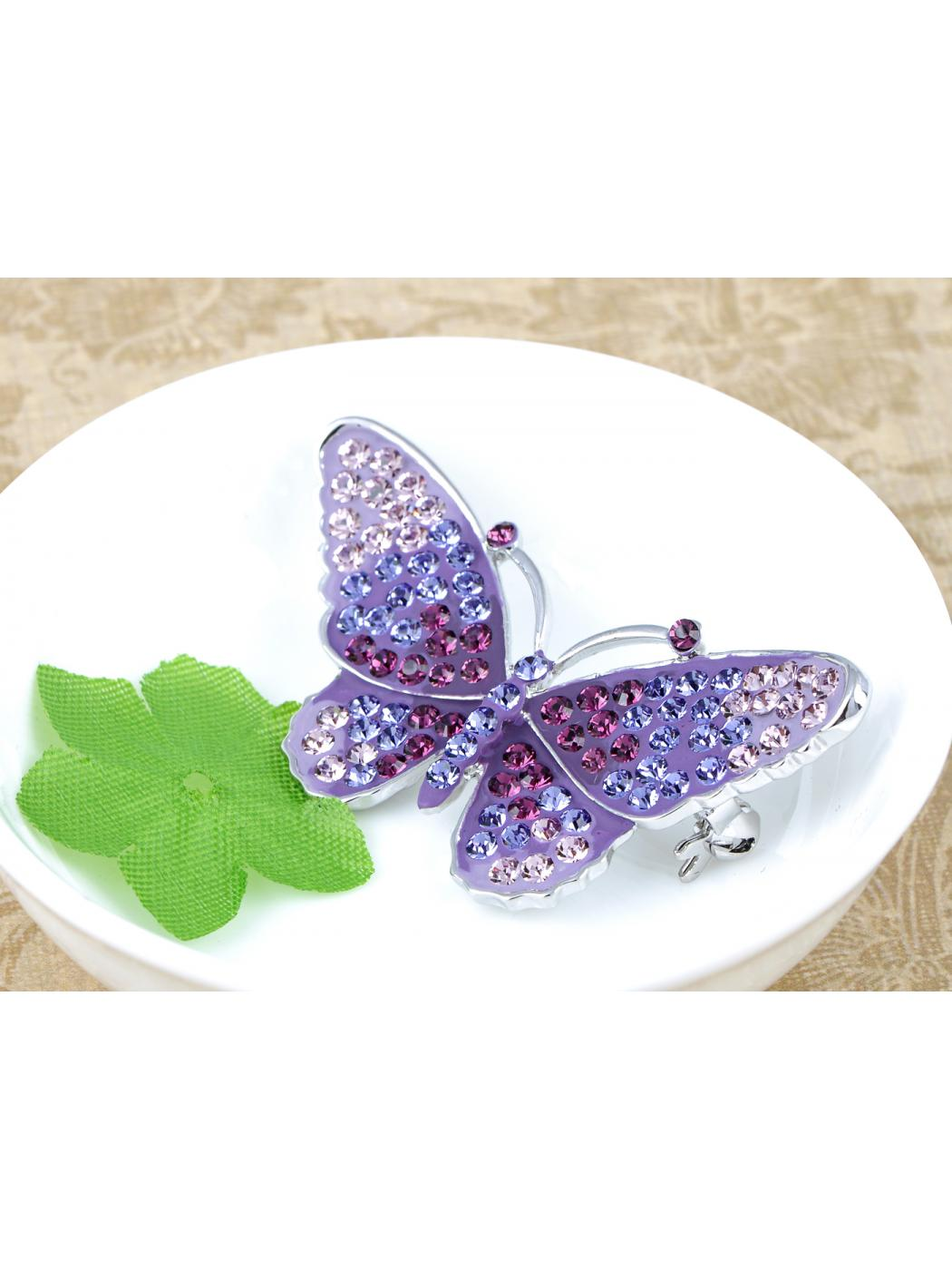 Crystal Elements Purple Regal Monarch Jeweled Butterfly Pin Brooch by