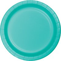 Club Pack of 240 Decorative Teal Lagoon Disposable Round Luncheon Plates 7""