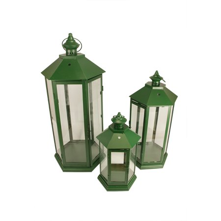 Set of 3 Green Traditional Style Pillar Candle Holder Lanterns 27