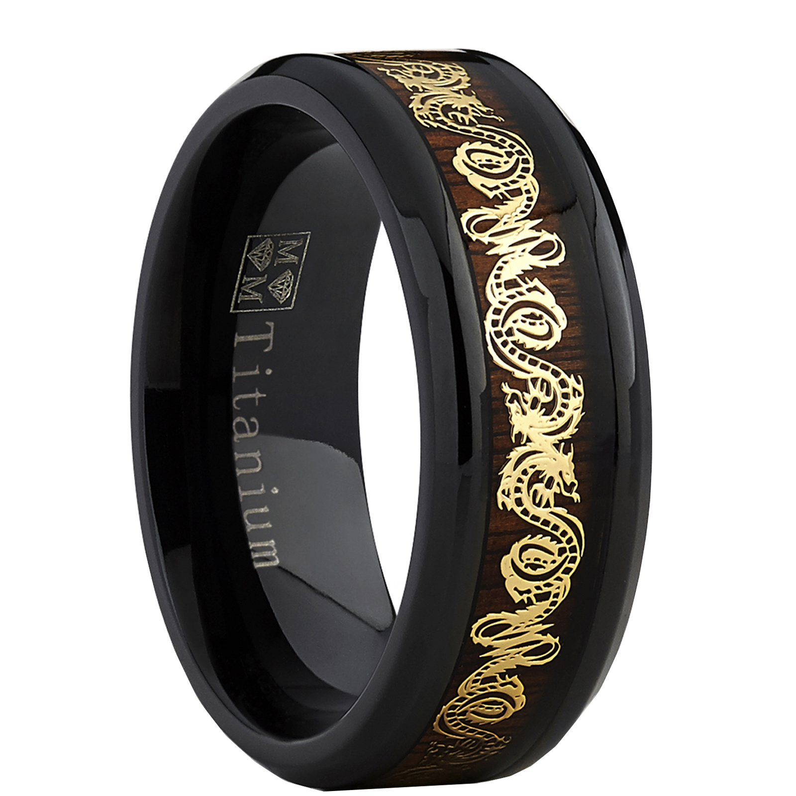 Men's Black Titanium Wedding Band Ring With Goldtone Dragon Inlay Over Real Wood