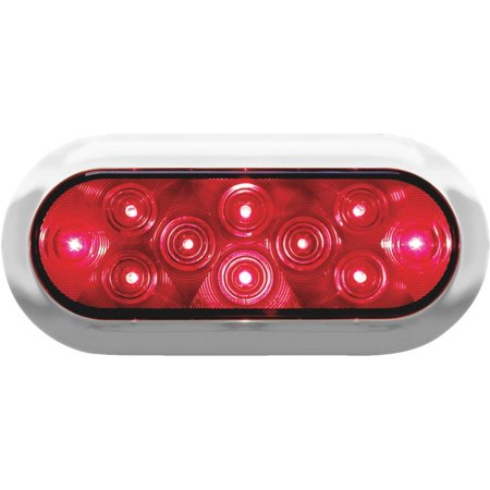 Anderson LED Oval Stop Turn and Tail Light Red with Chrome (Light Chrome Bezel)