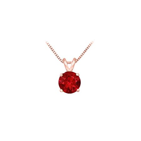 Fine Jewelry Vault UBPD14P4RD050R 14K Rose Gold Prong Set Natural Ruby Solitaire Pendant 0.50 CT TGW