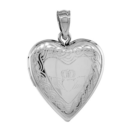 - Sterling Silver Claddagh Locket Heart Shape Necklace Celtic Knot Motif 16 inch RL_30H