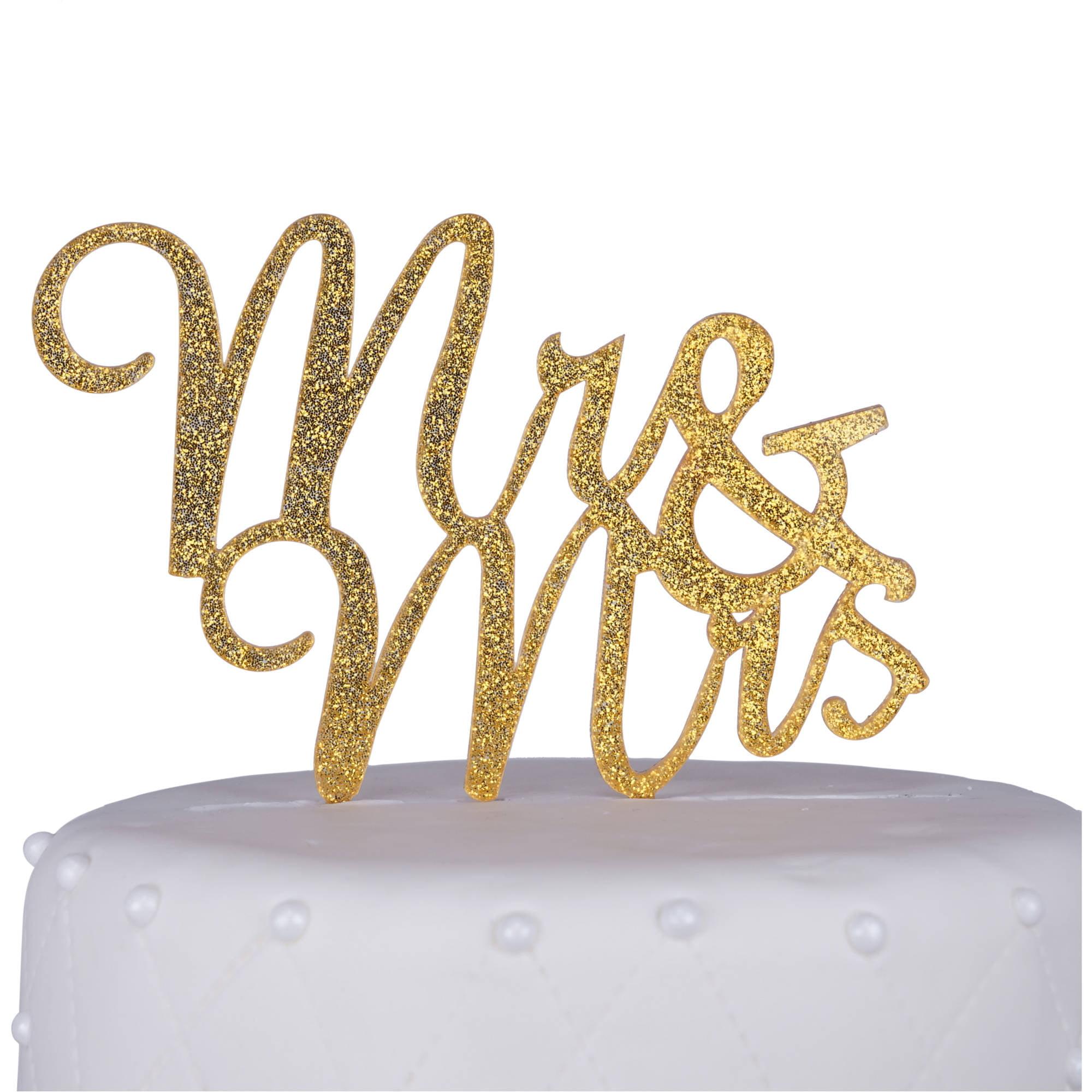 "Unik Occasions ""Mr. and Mrs."" Script Acrylic Cake Topper, Gold Glitter"