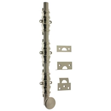 Idh by St. Simons 11216-015 Solid Brass Ornamental Bolt with Round Knob, Satin Nickel - 18 in.