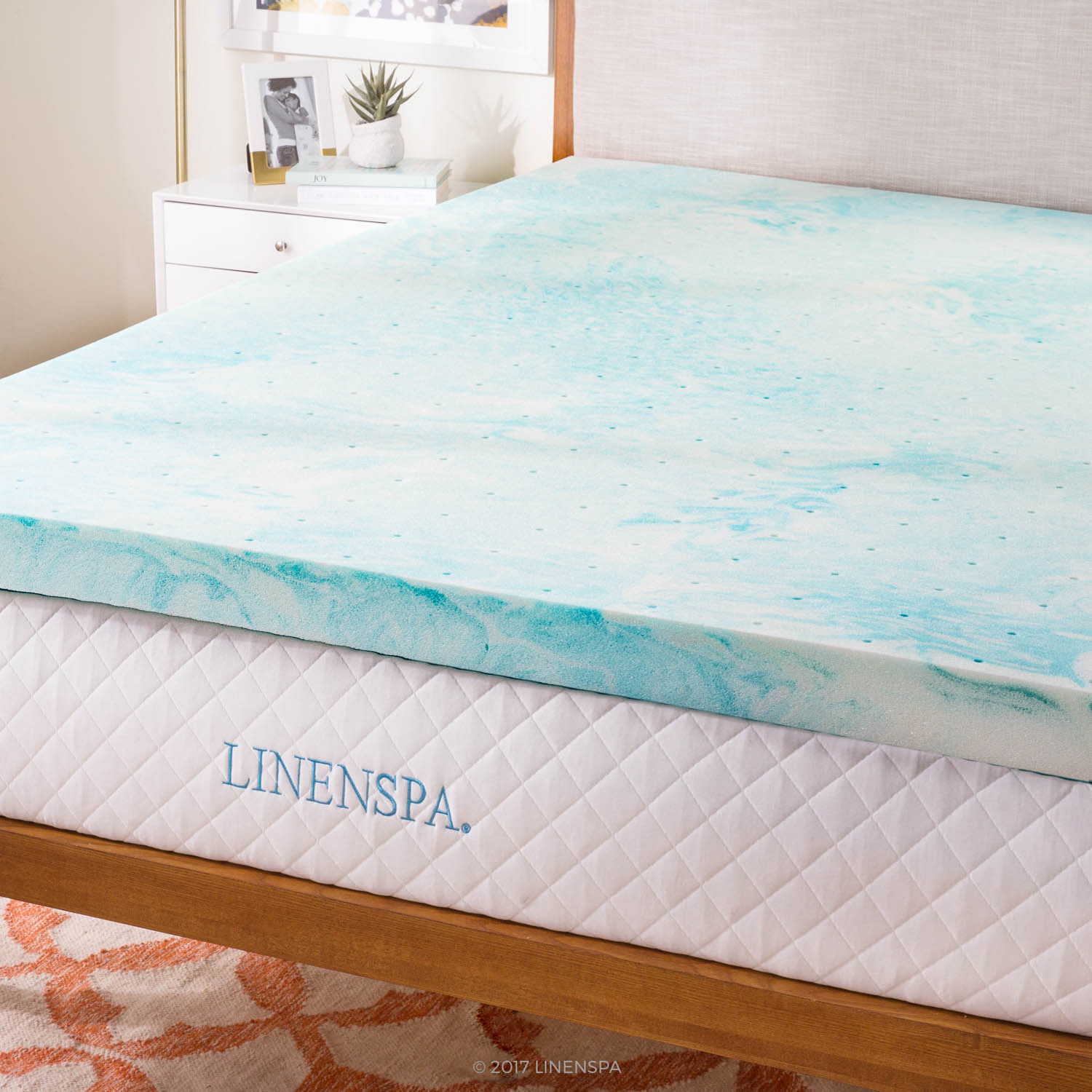 Linenspa 3 Inch Plush Gel Swirl Memory Foam Mattress Topper