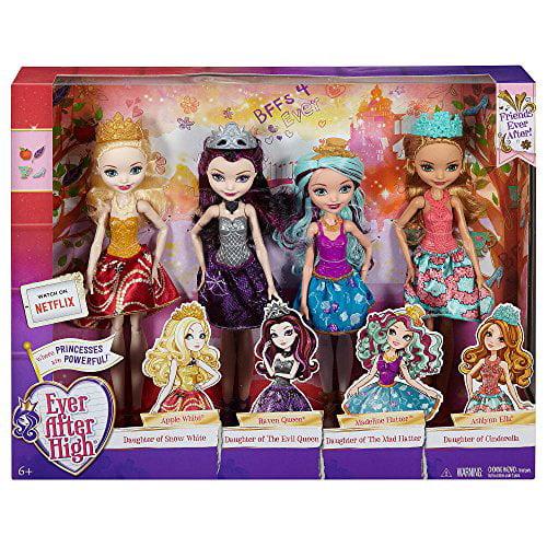 Ever After High Dolls 4 Pack Raven Queen, Apple White, Madeline Hatter, Ashlyn Ella by Mattel