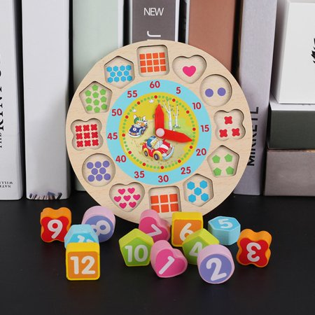 Wooden Blocks Clocks Shapes And Numbers For Development Cartoon Puzzle - image 1 de 3